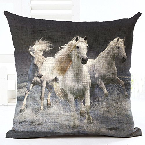 Oil Painting Horse Hand Painted Throw Pillow Case Cotton Blend Linen Cushion Cover Sofa Decorative Square 18 Inches (6) -