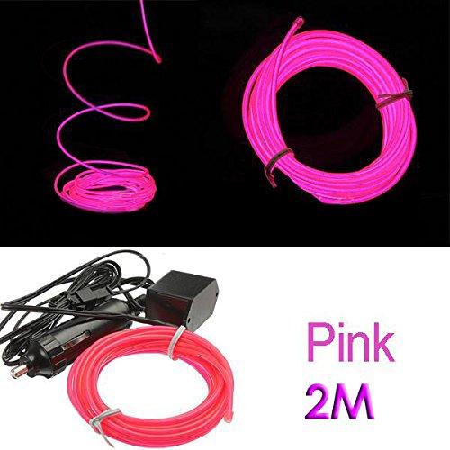 SODIAL(R) 2M Flexible EL Wire Neon LED Car Light Party Rope Tube + 12V Inverter - Pink