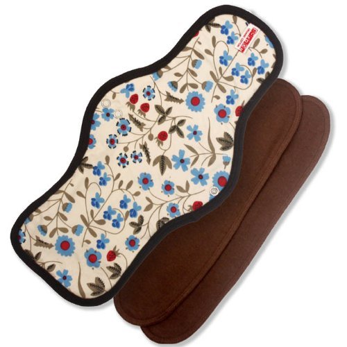 - Sckoon Organic Cotton Reusable Cloth Mnestrual Pads Long Maxi Gardenia Chocolate Trim by Sckoon Organics