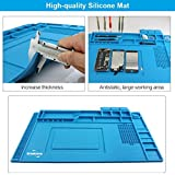 DREMINOVA Heat Insulation Soldering Mat/Pad 17.7 x 11.8 inch, Large Silicone Magnetic Phone Desk Station Repair Resistant Soldering Iron, Gun BGA, with Scale Ruler and Screw Position, Gift for Techie