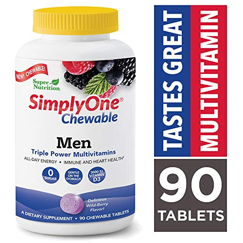 Chewable Sugar - SimplyOne Chewable Multivitamin for Men, Daily All-in-One Vitamin by SuperNutrition, 90 Day Supply; Best Value Pack