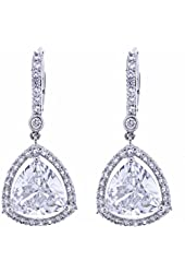 Platinum Plated Sterling Silver Trillion Cut Cubic Zirconia Dangle Earrings