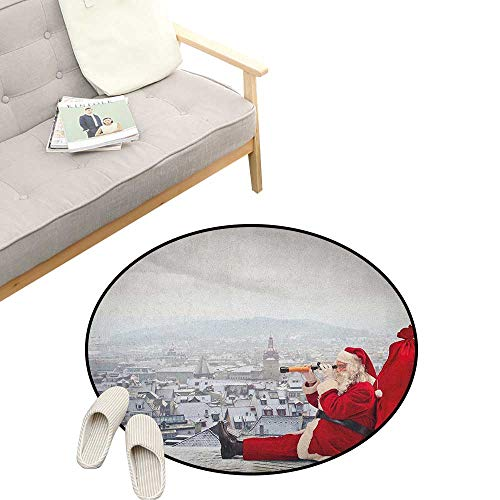 Christmas Round Rugs ,Santa Claus Sitting on Roof Top Looking Through Binoculars Cloudy Cityscape, Design Home Decoration 23