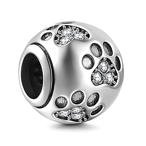 Dog Paw Print Charms 925 Sterling Silver Animal Birthstone Crystal Charms for 3mm Snake Chain Bracelets (Clear)]()
