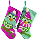Pack of 4 Vivid Pink, Blue and Green Plush Wise Owl Christmas Stockings 19''
