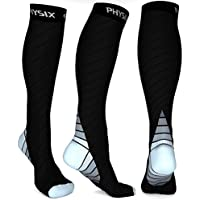 Physix Gear Compression Socks for Men & Women (20-30 mmhg) Best Graduated Athletic Fit for Running, Nurses, Shin Splints, Flight Travel & Maternity Pregnancy - Boost Stamina, Circulation & Recovery