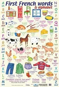 Póster educativo: El abecedario y las primeras palabras en francés 40x60cm