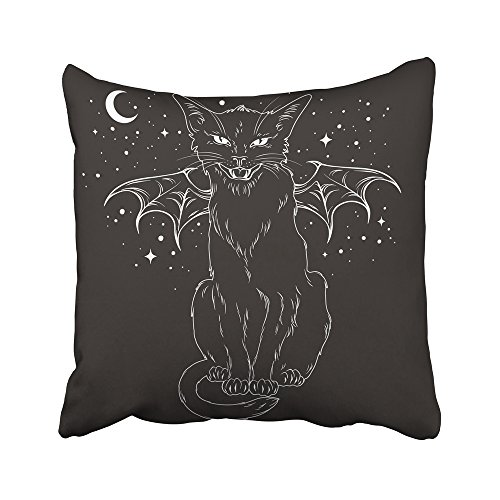 Emvency Decorative Throw Pillow Covers Cases Creepy Black Cat Monster Wings Over Night Sky Moon Stars Wiccan Familiar Spirit 16x16 inches Pillowcases Case Cover Cushion Two Sided]()