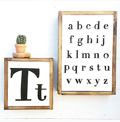 Amazon.com: Alphabet Sign | ABC Nursery Decor | Wood Letter Sign ...