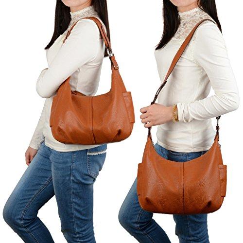 3aafddcb9fa9 YALUXE Women s Double Zipper Soft Hobo Style Cowhide Leather Purse Shoulder  Bag