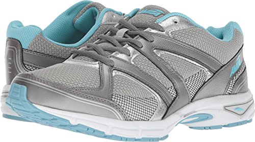 Avia Women's Avi-Execute II Running Shoe, Chrome Silver/Metallic Grey/Topaz Blue, 8 M US