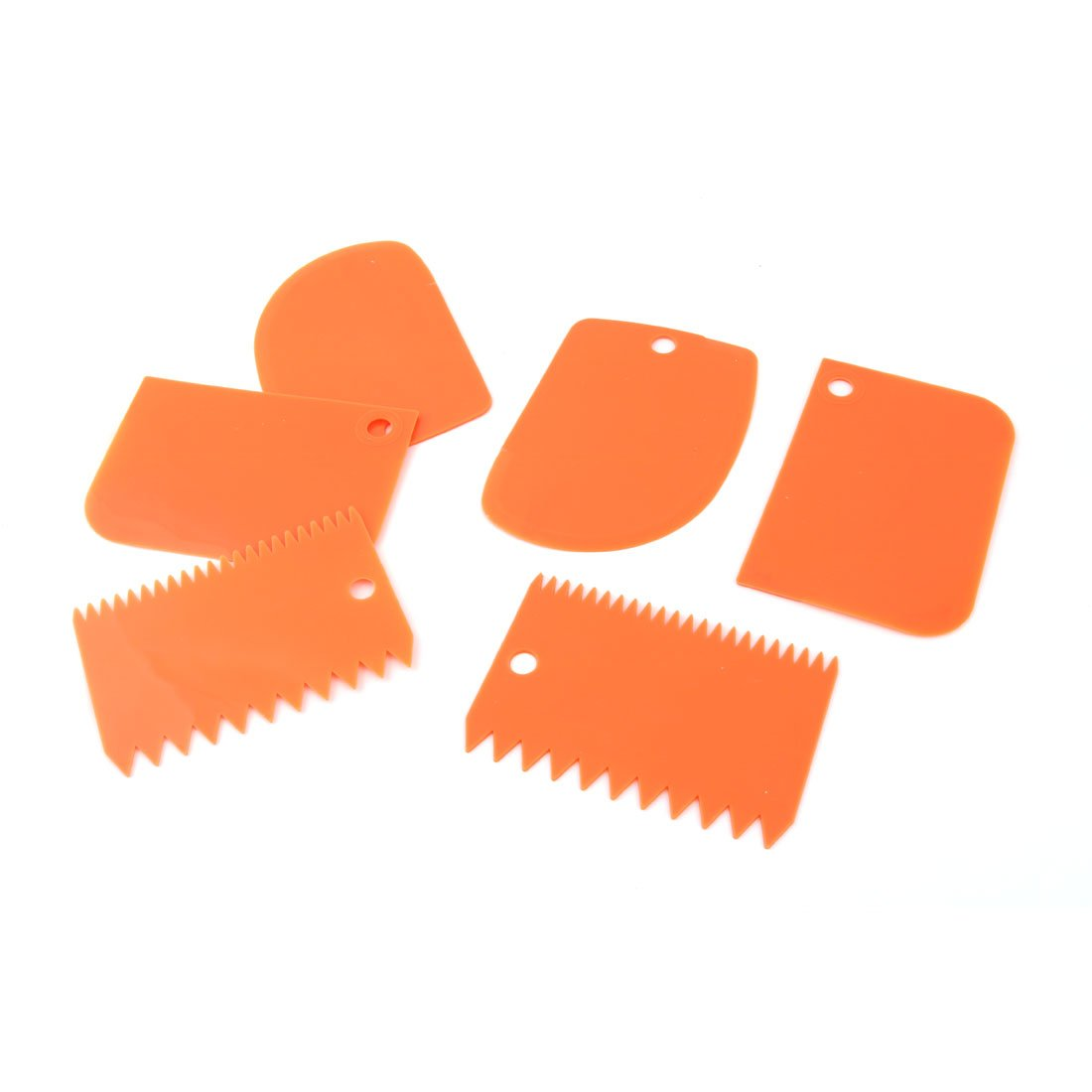 uxcell Plastic Home Heat Resistant Cake Butter DIY Baking Spatula Scraper 2 Sets Orange