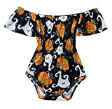 Ghost Style Off The Shoulder Bodysuit,Organic stinking Cute Short-Sleeve Bodysuit Circle Outfits for Baby Girls Shower Gift Jumpsuit Shorts Sleepwear 1-2 T