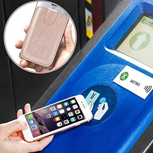 Phone Card Holder RFID Blocking Sleeve, Pu Leather Back Phone Wallet Stick-On Pull up 5 Card Holder Universally Pocket…