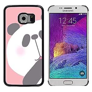 FlareStar Colour Printing Panda Kids Drawing Pink White Bear cáscara Funda Case Caso de plástico para Samsung Galaxy S6 EDGE / SM-G925 / SM-G925A / SM-G925T / SM-G925F / SM-G925I
