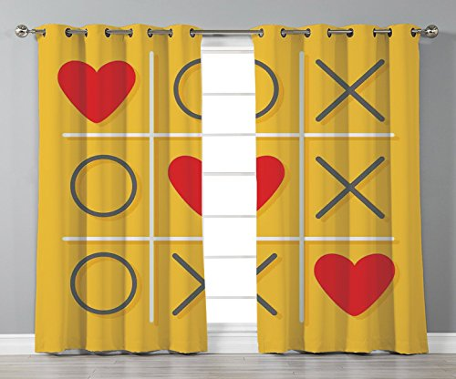 Stylish Window Curtains,Love Decor,Tic Tac Toe Game with Xoxo Flat Design Let Me Kiss You Funny Playful Romantic Illustration,Yellow Red,2 Panel Set Window Drapes,for Living Room Bedroom Kitchen Cafe