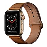 KYISGOS Compatible with iWatch Band 44mm 42mm, Genuine Leather Replacement Band Strap Compatible with Apple Watch Series 4 Series 3 Series 2 Series 1 42mm 44mm, Retro Brown