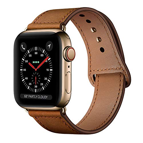 (KYISGOS Compatible with iWatch Band 38mm 40mm, Genuine Leather Replacement Band Strap Compatible with Apple Watch Series 4 Series 3 Series 2 Series 1 38mm 40mm, Retro)