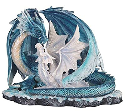 StealStreet SS-G-71533 Light Blue Dragon Mom with White Baby Statue Figurine, 7""