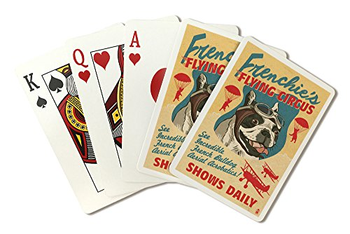 French Bulldog - Retro Flying Circus Ad (Playing Card Deck - 52 Card Poker Size with Jokers) (Playing Bulldogs Cards)