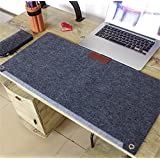 LLL-Large padded computer keyboard mat mouse pad simple game writing desks wristband , double layer deep grey