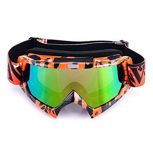 MotorFansClub Racing Dirt Bike Motorcycle Motocross ATV Anti-UV Skiing Goggles Glasses(Orange Colorful Lens) by MotorFansClub