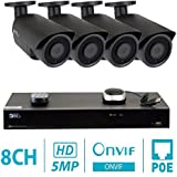 GW 8 Channel H.265 NVR 5-Megapixel Security Camera System, 4pcs 5MP 1920p 3.6mm Wide Angle POE Waterproof Bullet IP Cameras, 100ft Night Vision