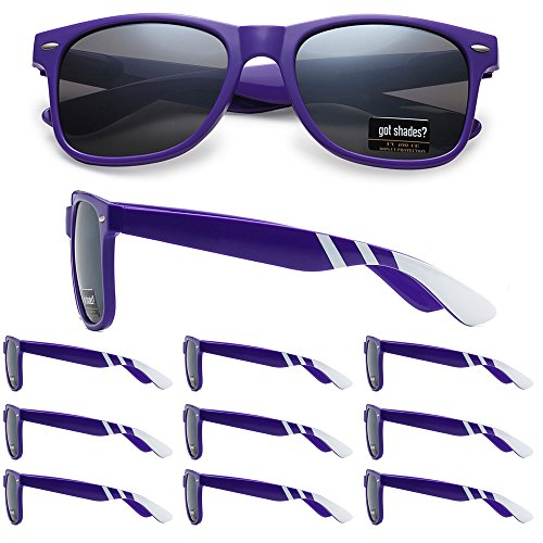 WHOLESALE RETRO BULK LOT TEAM SPIRIT STRIPED PROMOTIONAL SUNGLASSES - 10 PACK (Purple | White Stripes | Smoke Lens, -