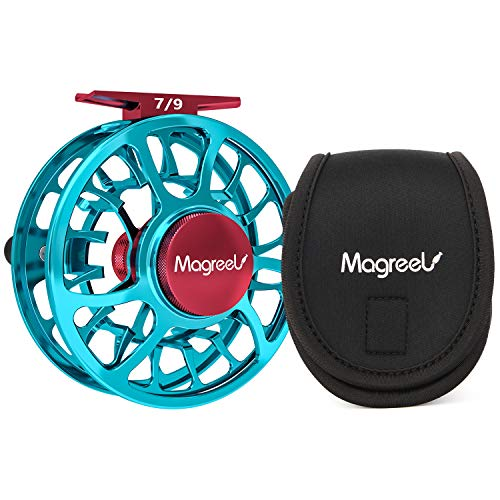 Magreel Fly Fishing Reel with CNC-machined Aluminum Alloy Body Large Arbor Fly Reel 3/4, 5/6, 7/9 Weights- Gunmetal, Blue
