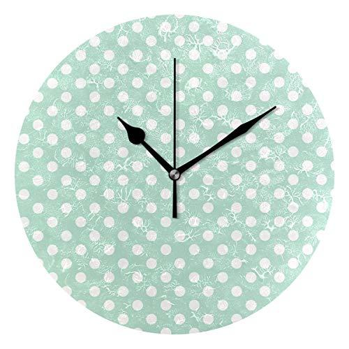 Ladninag Wall Clock Mint Green Polka Dot Silent Non Ticking Decorative Round Digital Clocks Indoor Outdoor Kitchen Bedroom Living -