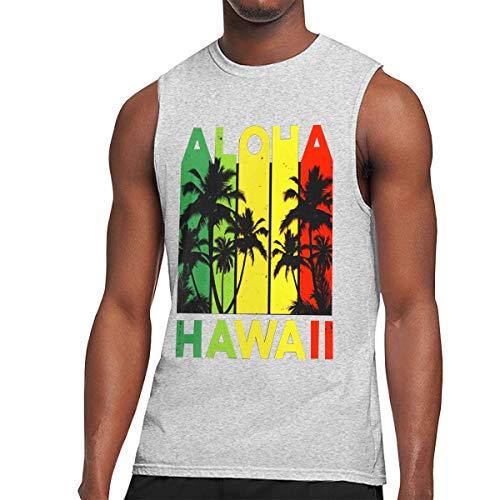 Vintage Hawaiian Islands Tee Hawaii Aloha State Mens Tank Tops, Gym Weight-Less Work Out Sleeveless T-Shirt Vest Shirt for Men Gray