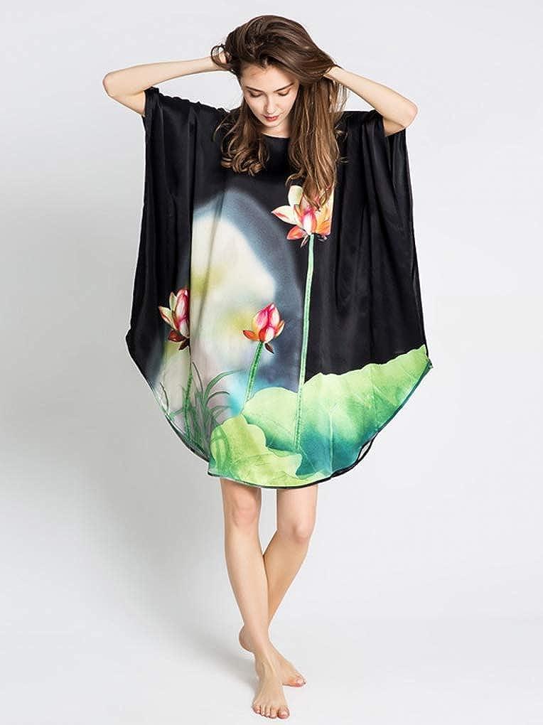 prettystern 100% Pura Seta Raso Crepe Kimono Pigiama Camicia da Notte Stampa d'Arte