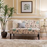 Devlin White and Blue Floral Fabric Love Seat For Sale