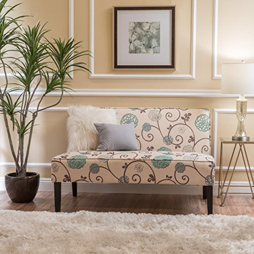 (Devlin White and Blue Floral Fabric Love Seat)