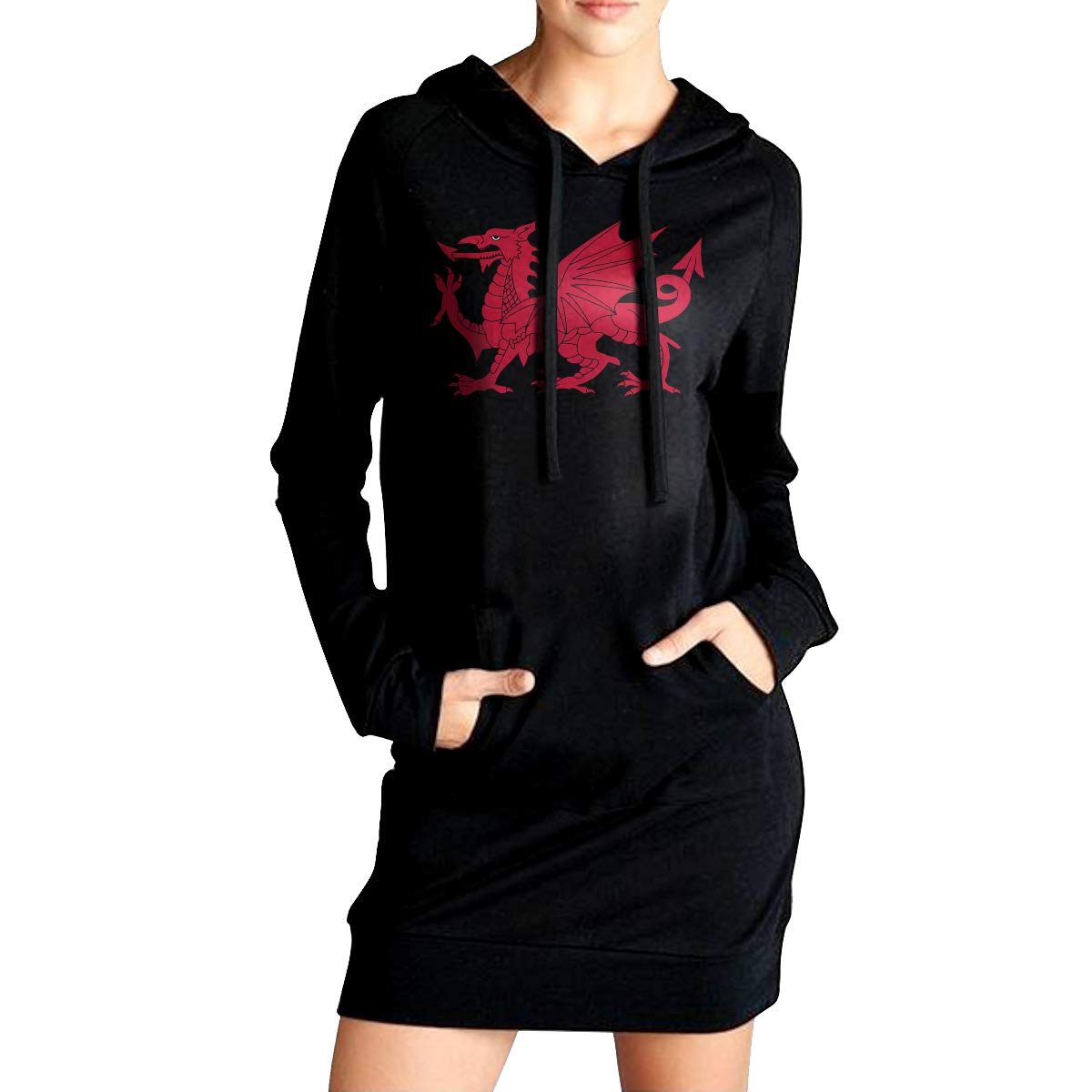 ADA/&KGH Womens Pullover Fleece Long Hoodies Dress Wales Flag Outer Jacket with Pockets