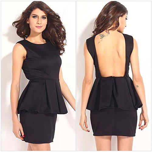 Black Halter Flounce Dress - WJS Ladies clothing Women's new flounce Princess slim black dress Halter,black,M
