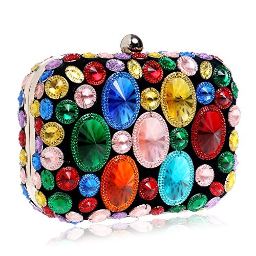 Dress girl Shiny Bridesmaid lady Maybesky Party Ladies' Multi Clutch women colored Diamond Dinner Bag xqpwqvUI