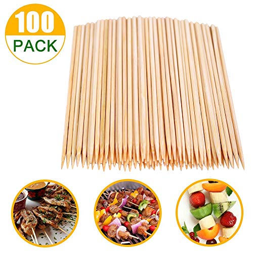 Natural Bamboo Skewers, Wooden Skewers,Skewer Sticks,kebab Sticks,Short Skewers,Wooden Kebab Skewers -Skewers for Fruit Kabobs,Appetizer, Chocolate Fountain, Cocktail More Food, (6-Inch(100pcs))