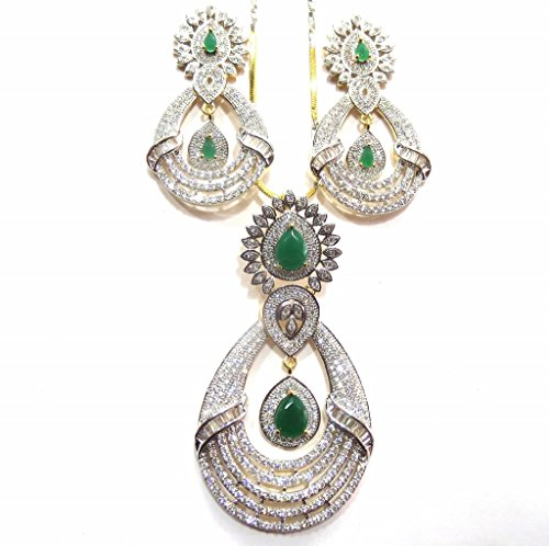 Jewelshingar Jewellery Cubic Zirconia Necklace Set For Girls ( 17940-psad-green ) by Jewelshingar