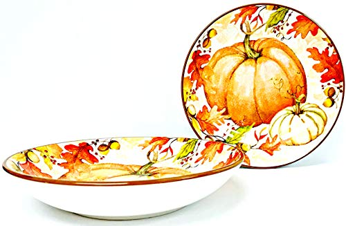 - Susan Winget Set of 2 Hand Painted Looking Orange Pumpkin | Autumn Leaves Ceramic Serving | Pasta Bowls| 9.5 x 1.75 inches
