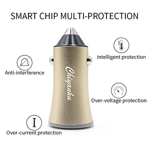 USB Car Charger Chiyanhu 24W 3.4A Metal Dual Car Adapter for S9/S8/S7/S6/Edge/Plus, Note 5/4, LG, Nexus, HTC with iSmart 2.0 Tech - Gold by TZF (Image #5)
