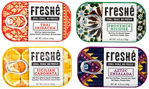 Freshé Gourmet Canned Tuna Variety Pack (4 Pack of 4.25 oz. tin) Premium Sustainably Caught Canned Tuna that Makes a Perfect High Protein Healthy Snack ()
