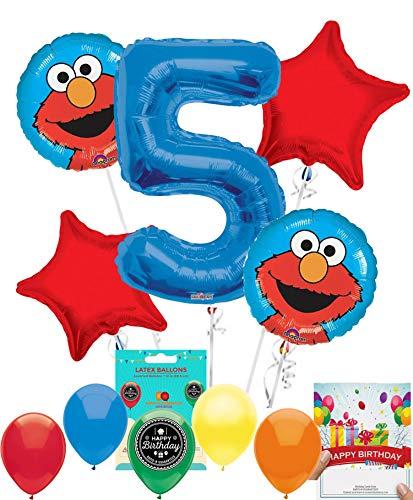 Elmo Party Supplies Sesame Street Balloon Decoration Bundle with Birthday Card for 5th Birthday -