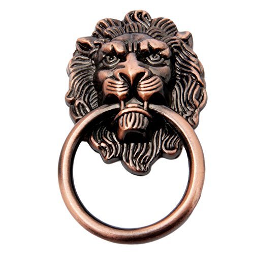 1pc Red Bronze Lion Head Pulls for Dresser, Drawer, Cabinet, Door Handles Knobs (1.97x3.54 Inch)