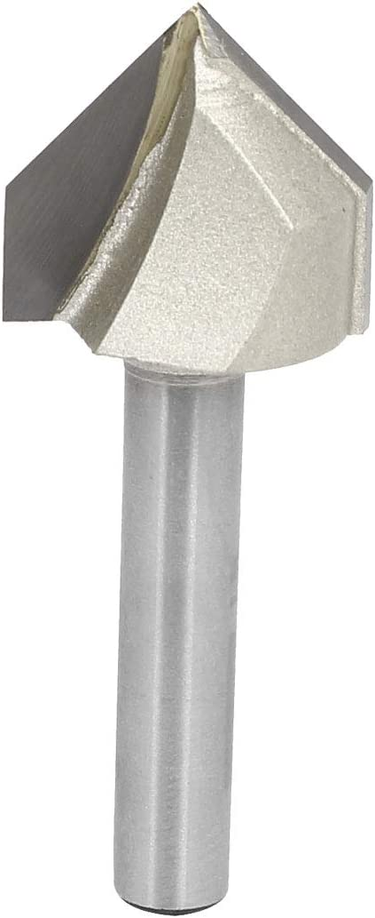 Beige uxcell 90 Degree V-Groove Router Bit 3//4 Dia with 1//4 Shank Steel Tipped V Grooving Bit