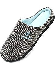 COFACE Pantofole Uomo Scarpe da Casa, Uomini Cotone Ciabatte Inverno Suola di Memoria, Fodera Interna Antiscivolo Caldo Ciabatta Uomo Slippers Pantofole da Casa 40-47