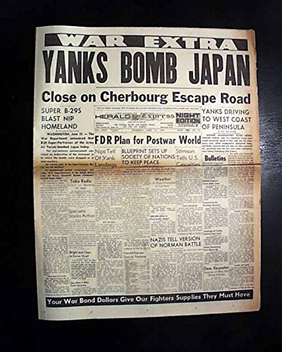 1st-b-29-superfortresses-bombers-japan-mainland-attack-1944-wwii-newspaper-herald-express-los-angele