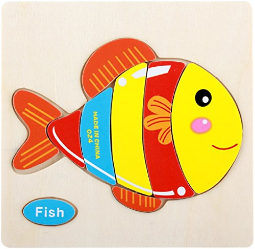 Wooden Puzzles Layhome 3D Jigsaw Puzzle Baby Kids Favour Toys (Fish) (Wooden Big Jigsaw Fish)