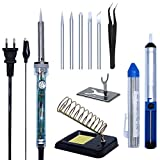 Image of Soldering Iron Kit, AngLink 8-in-1 60W 110V Adjustable Temperature Electric Welding Soldering Iron with 5pcs Tips, Stand, soldering sucker, Solder Wire, Anti-static Tweezers and Cleaning Sponge