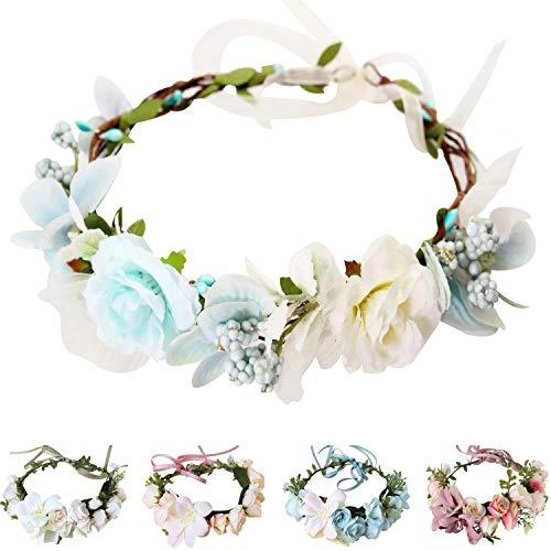 Handmade Adjustable Flower Wreath Headband Halo Floral Crown Garland Headpiece Wedding Festival Party (C1-Light Blue+White)